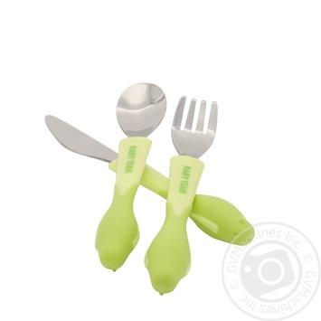 Набір для годування (ложка, виделка, ніж) із нержавіючої сталі Baby Team - купити, ціни на Novus - фото 2