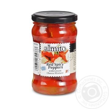 Перец Almito красный острый с начинкой из сливочного сыра 270г - купить, цены на Novus - фото 1