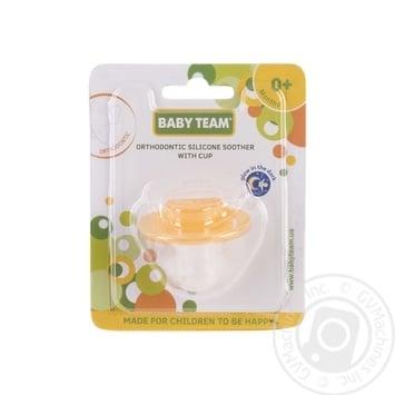 Пустушка силіконова ортодонтична з ковпачком та кільцем, що світиться вночі 0+ Baby Team - купить, цены на Novus - фото 1
