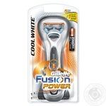 Men's Razor Gillette Fusion Power Cool White  with 1 Razor Blade and trimmer