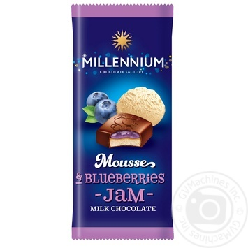 Шоколад Millennium Mousse молочный с муссовой и черничной начинкой 135г - купить, цены на Novus - фото 1