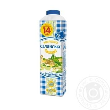 Молоко Селянське пастеризоване 2.5% 950г - купити, ціни на МегаМаркет - фото 1