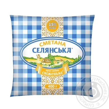 Сметана Селянська 15% 400г - купити, ціни на Фуршет - фото 1