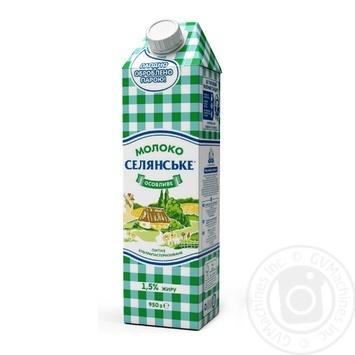 Молоко Селянское Особенное ультрапастеризованное 1.5% 950г - купить, цены на Novus - фото 1