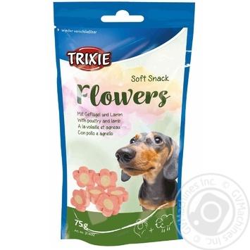 Ласощі Trixie Soft Snack Flowers Light з ягням і птицею для собак 75г - купити, ціни на Ашан - фото 1