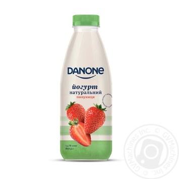 Йогурт Danone Клубника натуральный питьевой 1,5% 800г - купить, цены на Фуршет - фото 1