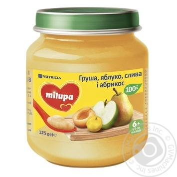 Milupa Pear, Apple, Plum and Apricot Puree for Babies From 6 Months 125g