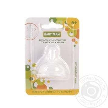 Соска силіконова антиколікова для пляшечок з широким горлом 6+ Baby Team - купить, цены на Novus - фото 1
