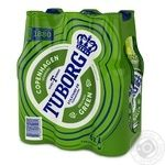 Пиво Tuborg Green світле пастеризоване 4.6% 0,5л 6шт