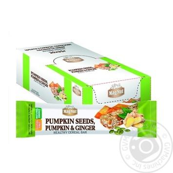 Батончик зерновий MagNut Цукати з гарбуза, гарбузове насіння та імбир 35г - купити, ціни на МегаМаркет - фото 1