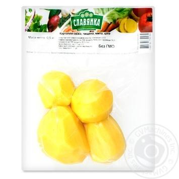 Картофель Славянка свежий, очищенный, мытый 0,5кг - купить, цены на Фуршет - фото 1