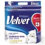Velvet Delicate Soft White Toilet Paper 3 layers 4pcs