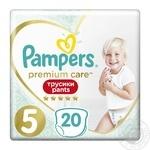 Подгузники-трусики Pampers Premium Care Pants размер 5 Junior 12-17кг 20шт - купить, цены на Ашан - фото 4