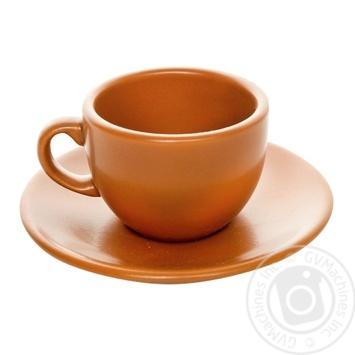 Чашка керамическая Keramia Терракота с блюдцем 95мл