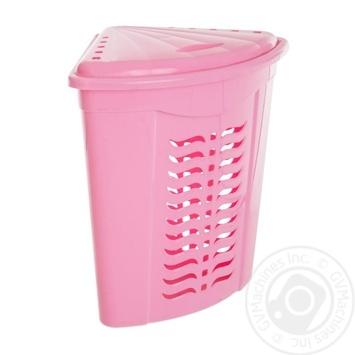 Корзина Ал-Пластик для белья розовый Н555 - купить, цены на Фуршет - фото 1