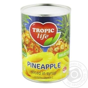 Ананас Tropic life кольца в сиропе 580мл - купить, цены на Фуршет - фото 1