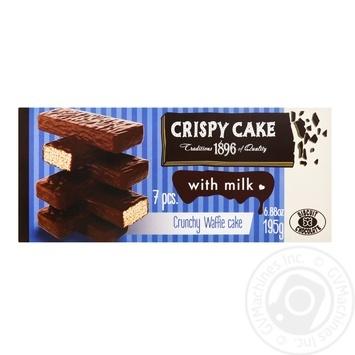 Торт Бисквит Шоколад Crispy Cake вафельный с молоком 195г - купить, цены на Ашан - фото 1