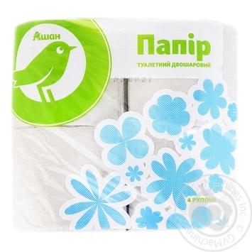 Auchan Toilet Paper Two-Layer Gray 4pcs