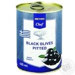 Оливки чорні METRO Chef без кісточки 425мл - купити, ціни на Метро - фото 1