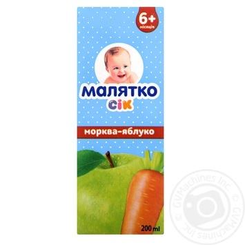 Сок Малыш морковно-яблочный 200мл