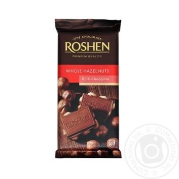 Шоколад черный Roshen с цельным лесным орехом 90г