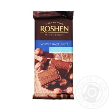 Шоколад молочний Roshen з цільним лісовим горіхом 90г
