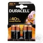 Батарейки Duracell AA 1,5V LR06 4шт