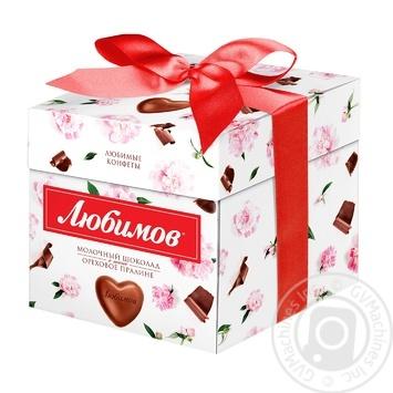 Конфеты Любимов в молочном шоколаде с ореховым пралине 208г - купить, цены на Фуршет - фото 1