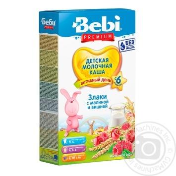 Каша детская Беби Премиум Злаки с малиной и вишней молочная сухая быстрорастворимая обогащенная витаминами и минералами 5-6 порций с 6 месяцев 200г - купить, цены на Novus - фото 1