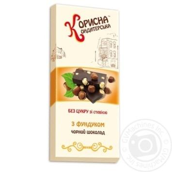 Шоколад черный Корисна кондитерська Стевиясан с фундуком 100г - купить, цены на Novus - фото 1