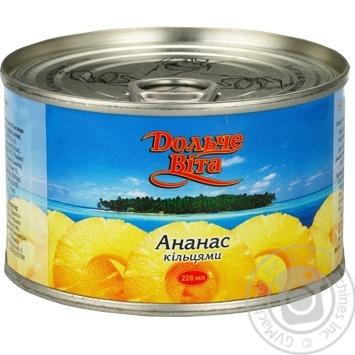 Ананасы Дольче Вита кольцами в сиропе 227г - купить, цены на Novus - фото 2