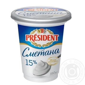 President sour cream 15% 350g - buy, prices for Metro - image 1