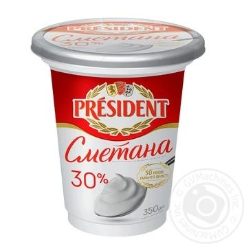 President sour cream 30% 350g - buy, prices for MegaMarket - image 1