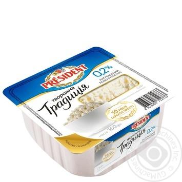 Творог President Творожная традиция нежирный 0,2% 350г - купить, цены на Фуршет - фото 1