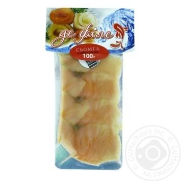 Семга Де Филе слабосоленая нарезанная ломтиками 100г вакуумная упаковка Украина - купить, цены на Фуршет - фото 1