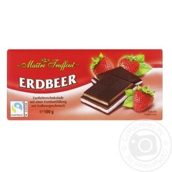 Maitre Truffout Dark chocolate with strawberries 100g - buy, prices for Furshet - image 1
