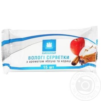 Салфетки влажные Eurogroup с ароматом яблока и корицы 15шт - купить, цены на Таврия В - фото 1