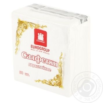 Eurogroup Two-Layer White Napkins 50pc - buy, prices for Tavria V - image 1
