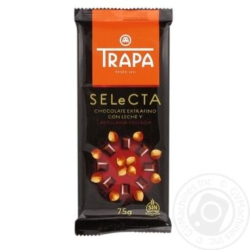 Шоколад TRAPA Selecta молочный с фундуком 75g