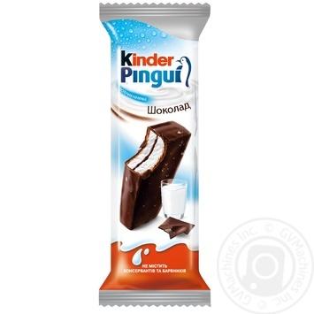 Пирожное Kinder Pingui бисквитное покрытое темным шоколадом с молочной начинкой 30г - купить, цены на Novus - фото 1