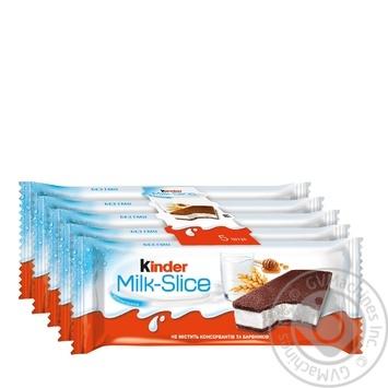 Пирожное Kinder Milk Slice бисквитное с молочной начинкой 5шт 28г - купить, цены на Ашан - фото 1