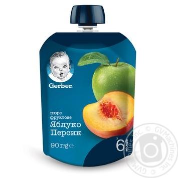 Пюре Gerber яблуко персик 90г - купити, ціни на Novus - фото 1