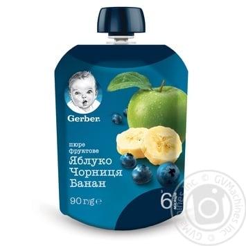 Пюре Gerber яблоко черника банан 90г - купить, цены на Ашан - фото 1
