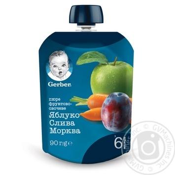 Пюре Gerber яблоко слива морковь 90г - купить, цены на Ашан - фото 1