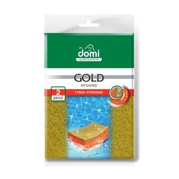 Губки кухонные Domi золото 2шт - купить, цены на Фуршет - фото 1