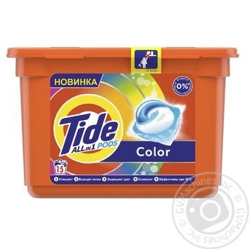 Tide Pods 3in1 Color Washing Capsules 15pcs 24,8g - buy, prices for Auchan - photo 1