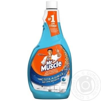 Средство Мистер Мускул для мытья стекол и поверхностей со спиртом запаска 500мл - купить, цены на Ашан - фото 1