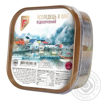 Сельдь Flagman филе-кусочки в масле с дымком 200г - купить, цены на Фуршет - фото 1