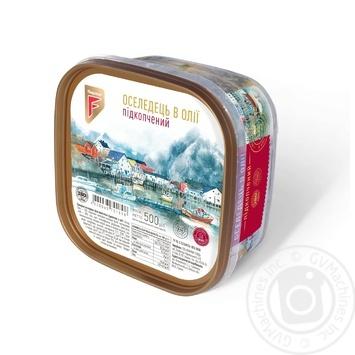 Сельдь Flagman филе-кусочки в масле с дымком 500г - купить, цены на Ашан - фото 1