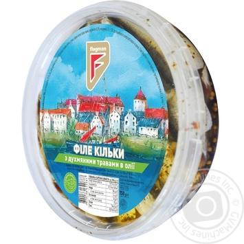 Филе кильки Flagman с душистыми травами в масле 150г - купить, цены на Фуршет - фото 1